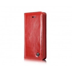 Genuine Leather Wallet Case for iPhone 5 / 5S - Red