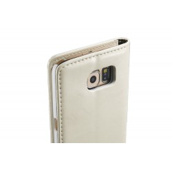 Genuine Leather Wallet Case for Samsung Galaxy S6 Edge+ - White